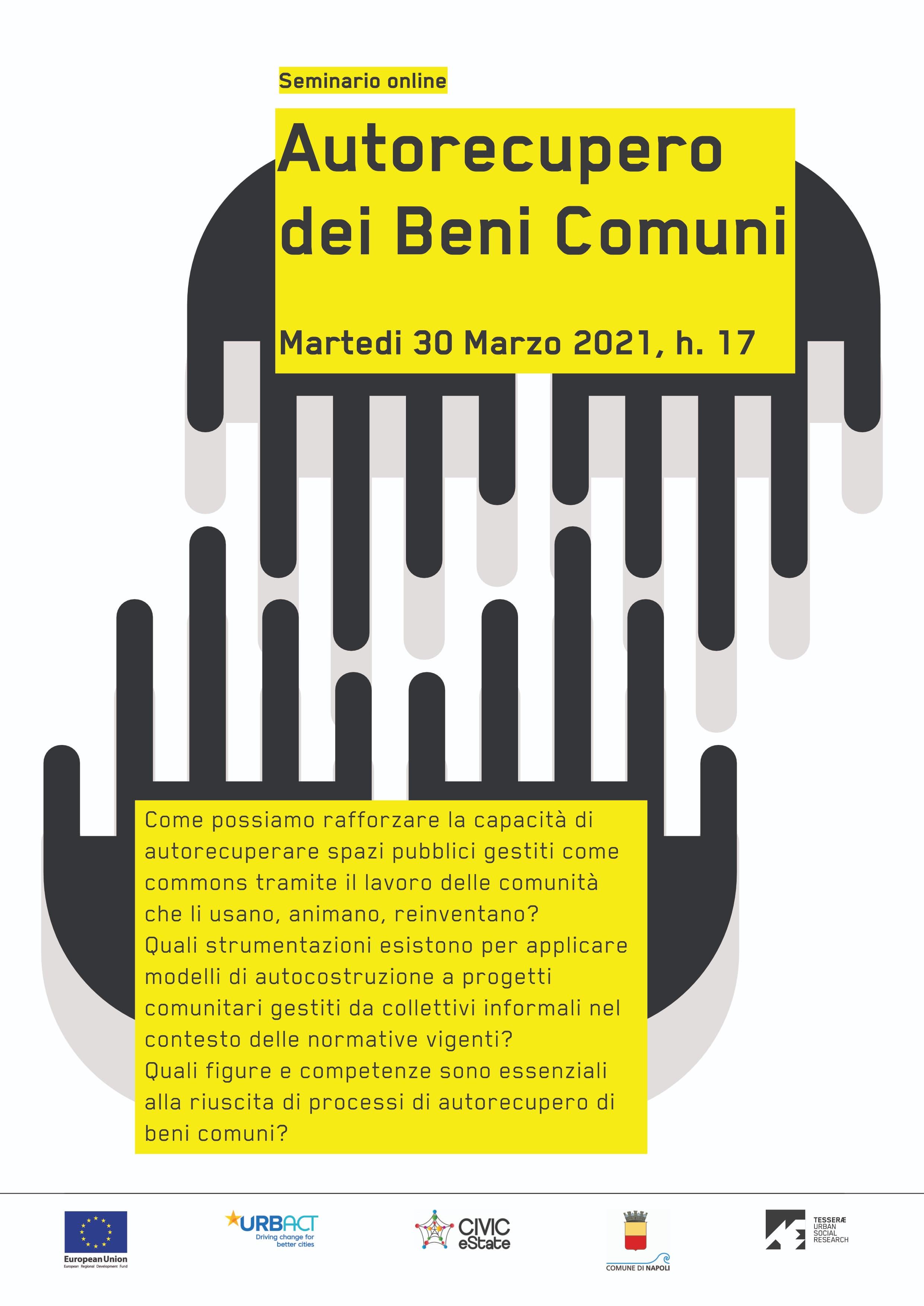 Autorecupero dei Beni Comuni, seminario online. Poster